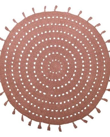 Hnedý bavlnený ručne vyrobený koberec Nattiot Nila, ø 120 cm