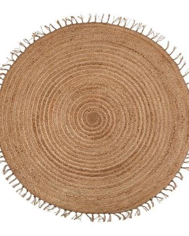 Hnedý ručne vyrobený koberec Nattiot Abha, ø 140 cm