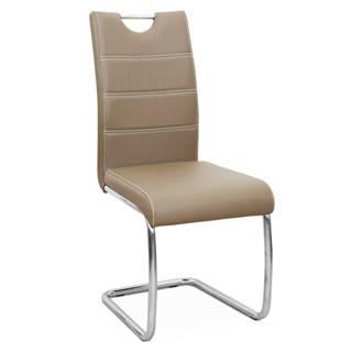 Jedálenská stolička capuccino/svetlé šitie ABIRA NEW