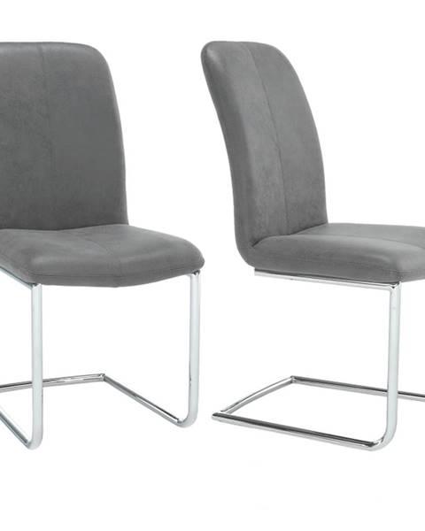 Tempo Kondela 2 kusy stolička látka sivá/chróm VERMONA TYP 3
