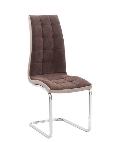 Tempo Kondela Jedálenská stolička hnedá látka/ekokoža béžová/chróm SALOMA NEW
