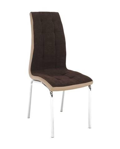 Jedálenská stolička hnedá/béžová/chróm GERDA NEW