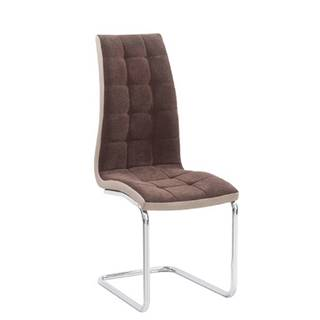 Jedálenská stolička hnedá látka/ekokoža béžová/chróm SALOMA NEW