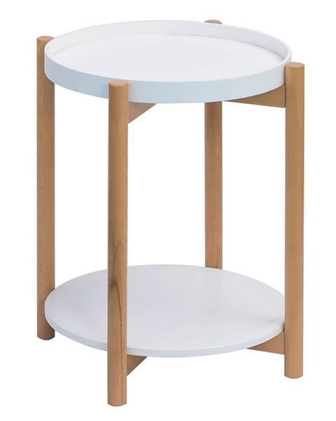 Tempo Kondela Príručný stolík biela/prírodná KABRA