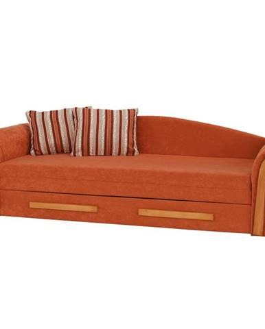 Pohovka oranžová/pruhovaný vzor/jelša PATRYK