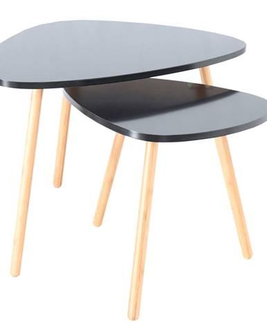 Set 2 stolíkov čierna/prírodná GOREJ