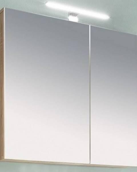 ASKO - NÁBYTOK Kúpeľňová skrinka so zrkadlom Porto, dub sonoma%