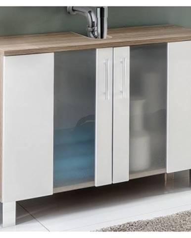 Kúpeľňová skrinka pod umývadlo Porto, dub sonoma/biela%