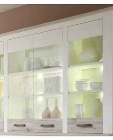 Nastavná vitrína Toronto, bielená pínia / pieskový dub%