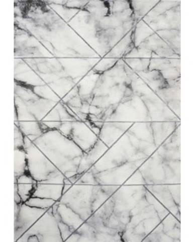 Koberec Craft 80x150 cm, mramorový dizajn, šedo-strieborný%