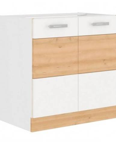 Kuchynská drezová skrinka Iconic 80ZL2F, buk iconic / biely lesk, šírka 80 cm%