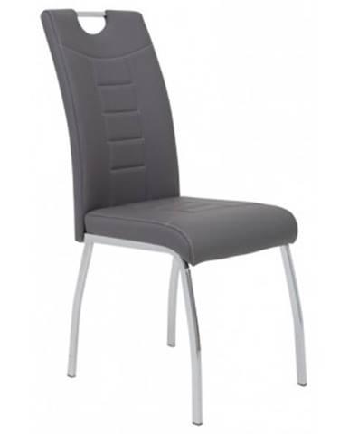 Jedálenská stolička Andrea, šedá ekokoža%