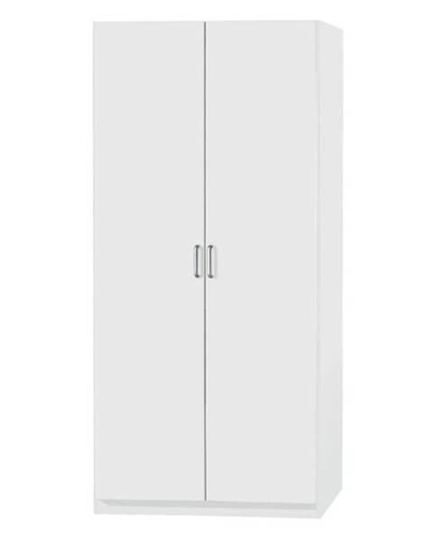 Sconto Policová skriňa PARKER biela, výška 210 cm, hĺbka 54 cm