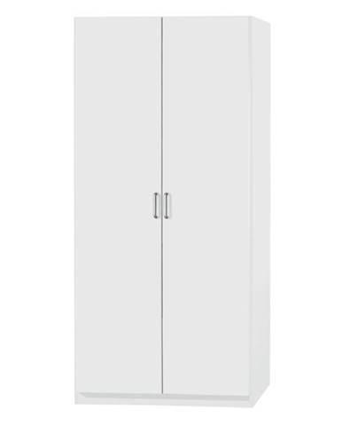 Policová skriňa PARKER biela, výška 197 cm, hĺbka 54 cm