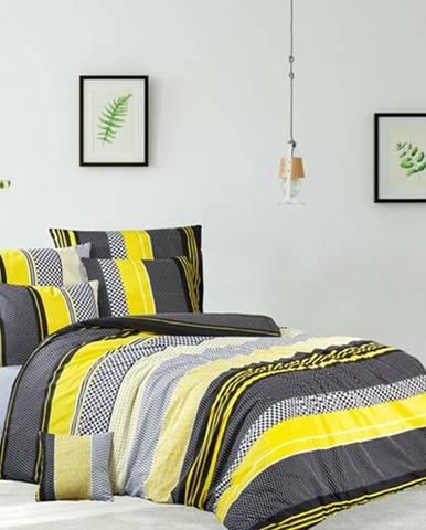 BedTex Bavlnené obliečky Zigo žltá, 140 x 200 cm, 70 x 90 cm