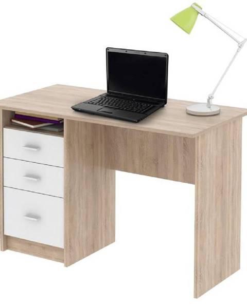 Tempo Kondela PC stôl dub sonoma/biela SAMSON NEW