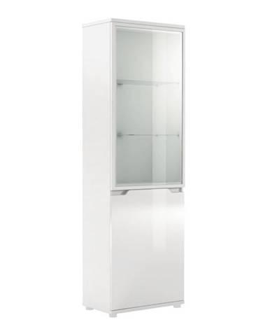 Vitrína s LED osvetlením biela/biela s extra vysokým leskom ADONIS AS 10
