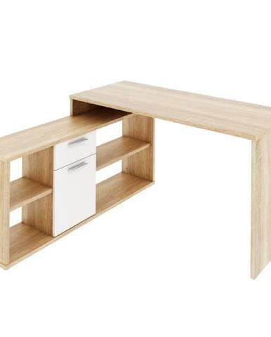 PC stôl dub sonoma/biela NOE NEW