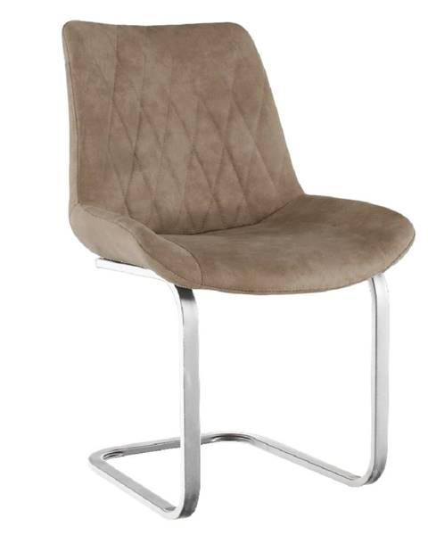 Kondela Jedálenská stolička svetlohnedá látka s efektom brúsenej kože/chróm DENTA