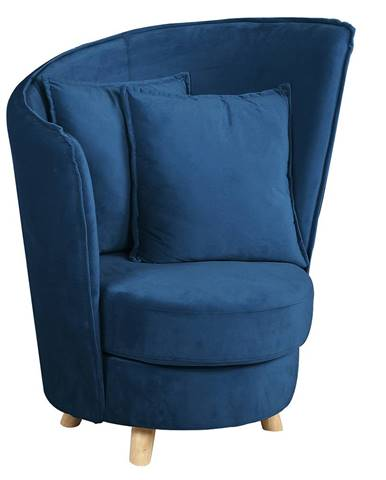 Kreslo v štýle Art Deco modrá Velvet látka/dub ROUND