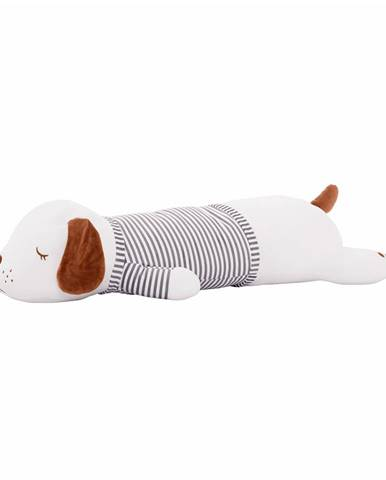 Plyšový psík biela/hnedá/sivý pásik 92cm KINGO typ 2
