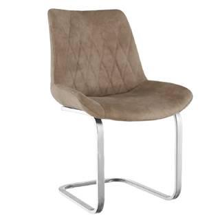 Jedálenská stolička svetlohnedá látka s efektom brúsenej kože/chróm DENTA