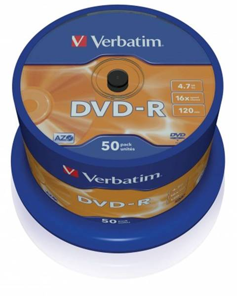 Verbatim Disk Verbatim DVD-R, 4,7GB, bez možnosti potlače, 50 ks 43548