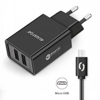 Smart nabíjačka Aligator 2,4A, 2xUSB, micro USB, čierna
