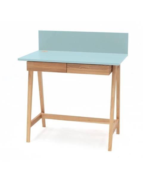 Ragaba Tyrkysovomodrý písací stôl s podnožím z jaseňového dreva Ragaba Luka, dĺžka 85 cm