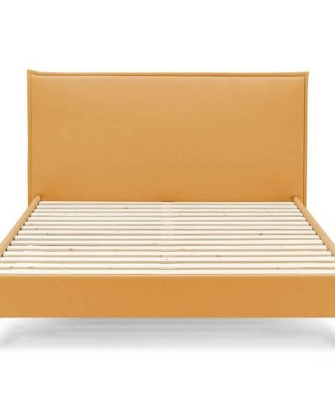 Bobochic Paris Žltá dvojlôžková posteľ Bobochic Paris Dark, 180 x 200 cm