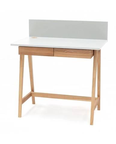 Biely písací stôl s podnožím z jaseňového dreva Ragaba Luka, dĺžka 85 cm