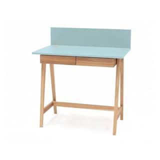 Tyrkysovomodrý písací stôl s podnožím z jaseňového dreva Ragaba Luka, dĺžka 85 cm