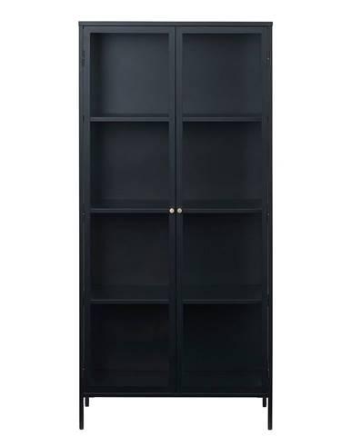 Čierna vitrína Unique Furniture Carmel, výška 190 cm