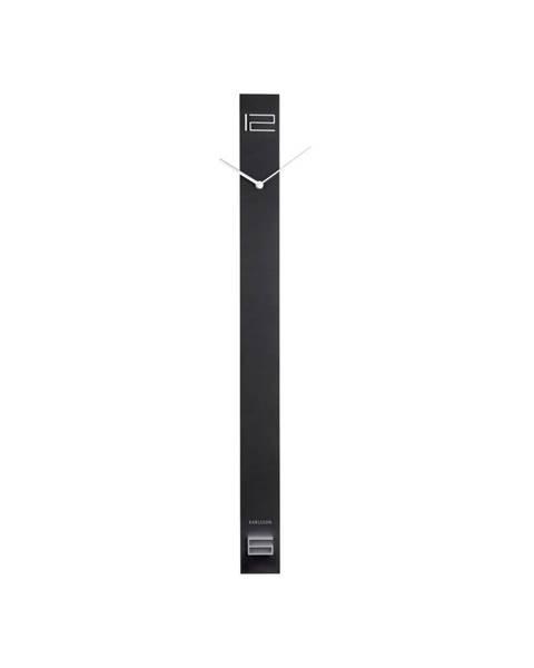 Karlsson Čierne drevené nástenné hodiny Karlsson Discreet Long, 7,7 x 90 cm