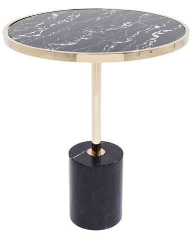 Čierny odkladací stolík s podnožím v zlatej farbe Kare Design San Remo Base, ø 46 cm