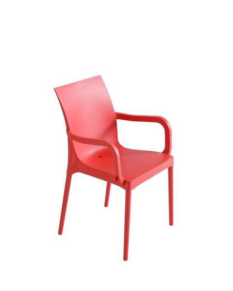 Möbelix Plastová stolička s podrúčkami Eset Červená