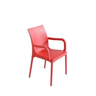 Plastová stolička s podrúčkami Eset Červená