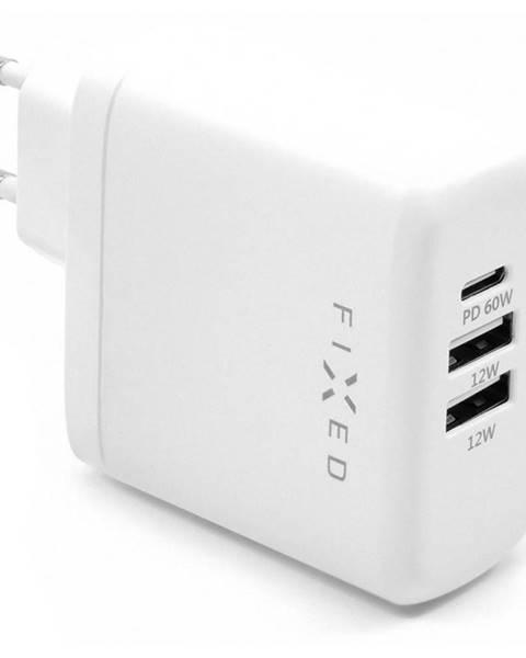FIXED Nabíjačka do siete Fixed 2x USB, USB-C PD, 60W biela