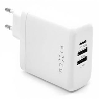 Nabíjačka do siete Fixed 2x USB, USB-C PD, 60W biela
