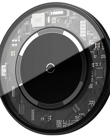 Bezdrôtová nabíjačka Baseus Simple Magnetic 15W čierna/priehľadná