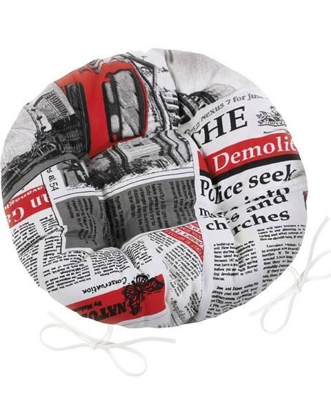 Bellatex Bellatex Sedák Ema okrúhly prešívaný Noviny červená, 40 cm