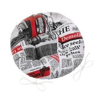 Bellatex Sedák Ema okrúhly prešívaný Noviny červená, 40 cm
