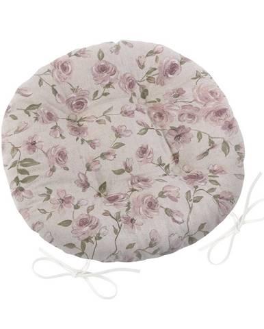 Bellatex Sedák Ivo okrúhly prešívaný Ruže lila, 40 cm