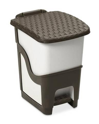 Ratanový odpadkový kôš 18 l, biela a hnedá