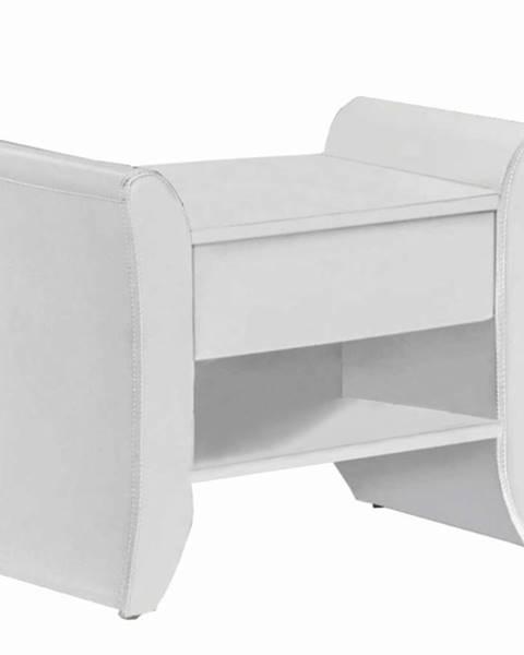 Tempo Kondela Nočný stolík biela ekokoža BOLTON
