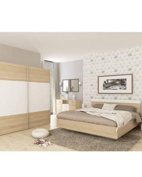 Kondela Spálňový komplet (posteľ 180x200 cm) dub sonoma/biela GABRIELA