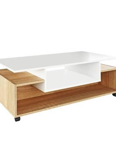 Konferenčný stolík na kolieskach biela/dub sonoma DALEN