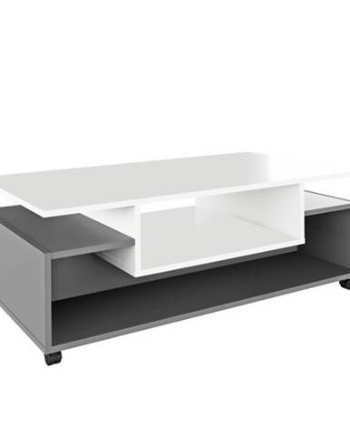 Konferenčný stolík na kolieskach biela/grafit DALEN