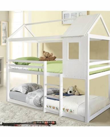 Montessori poschodová posteľ biela 90x200 ATRISA