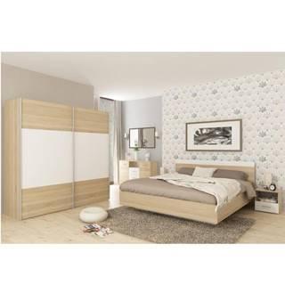 Spálňový komplet (posteľ 180x200 cm) dub sonoma/biela GABRIELA